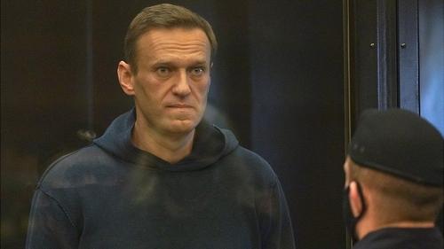 Alexei Navalny in court yesterday.
