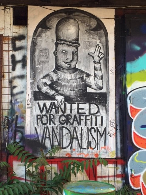 "Mural. Zagreb, Croatia, 2017. Satirical ""warrant"" for graffiti vandals."