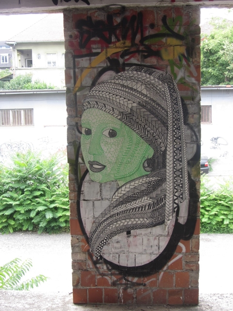 "Paste-up. Zagreb, Croatia, 2015. Street-art version of Vermeer's painting ""Girl with a Pearl Earring""."