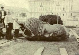 Beheaded statue in Russia