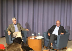 Professor Doug Rogers (left) and Vladimir Pozner (right) in conversation following his Poynter Lecture