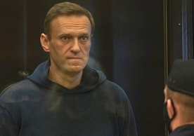 Alexei Navalny in court yesterday.